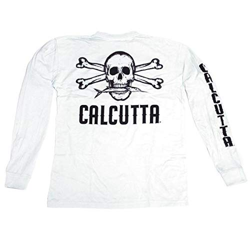 - Calcutta Men's Original Logo Long Sleeve Tee with Pocket (White, Large)