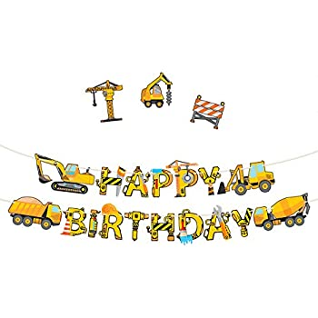 bbe9c40eac4b Construction Birthday Party Supplies Banner - Premium Pre-Assembled Happy  Birthday Decoration with Dumb Truck Excavator Crane and more for Boys Under  ...