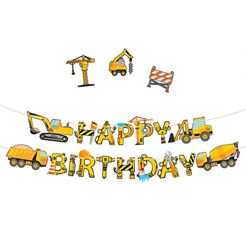 Construction Birthday Party Supplies Banner - Premium Pre-Assembled Happy Birthday Decoration with Dumb Truck Excavator Crane and more for Boys Under Construction Kids Party -