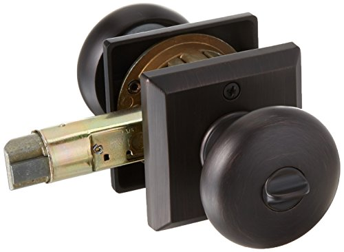 Baldwin Reserve ENROUTSR112 Entry Round Knob and Traditional Square Rose Venetian Bronze Finish by Baldwin