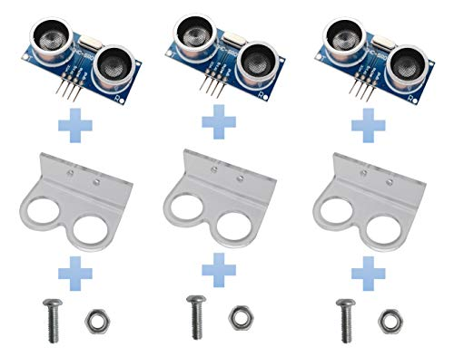 Excelity 3pcs Ultrasonic Module HC-SR04 Distance Sensor with 3pcs Mounting Bracket for Arduino ()