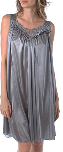 Venice Womens' Silky Looking Embroidered Nightgown 06N Large Charcoal