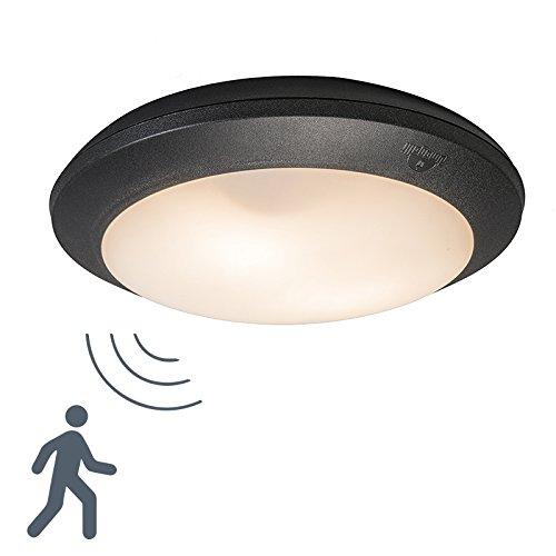 QAZQA Modern Außen Deckenleuchte Deckenlampe Lampe Leuchte Umberta schwarz rund Sensor Außenbeleuchtung Kunststoff Rund LED geeignet E27 Max. 2 x 60 Watt