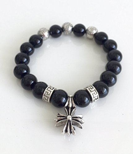 cross baby tribal mens hollywood and king silver bracelet skulls products black bead by onyx