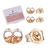 BEADNOVA 14k Gold Earring Backs Butterfly Replacements Backs for Post Earrings (6pcs)