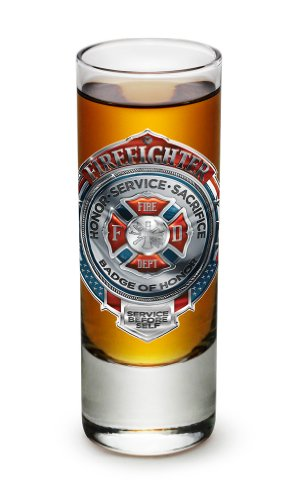 Shot Glasses – Firefighter Gifts for Men or Women – Fire Honor Service Sacrifice Chrome Badge Shot Glasses – Glass Shot Glasses with Logo - Set of 6 (2 Oz)