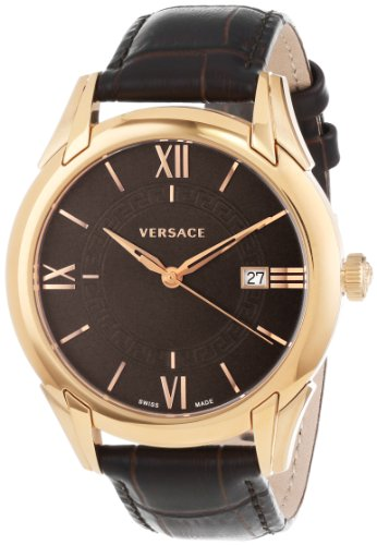 "- 41Eqy7f9ARL - Versace Men's VFI030013 ""Apollo"" Rose Gold Ion-Plated Stainless Steel Dress Watch with Leather Band"