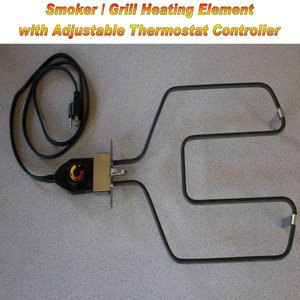 Universal Replacement Electric Smoker and Grill Heating Element with Adjustable Thermostat ControllerNEW 1500 Watts Higher Heat from River Country