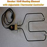 Universal Replacement Electric Smoker and Grill Heating Element with Adjustable Thermostat ControllerNEW 1500 Watts Higher Heat