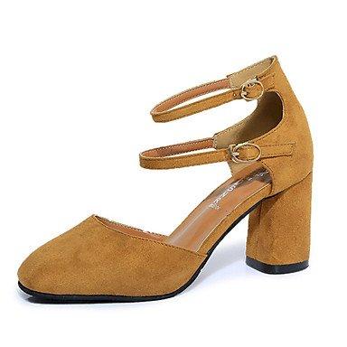 Le donne eleganti sandali Sexy Donna Stivali Autunno Inverno Comfort PU Abito casual Chunky Heel Zipper Lace-up marrone nero Borgogna , giallo , us5.5 / EU36 / uk3.5 / CN35