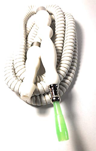 PHARAOH'S Silk White Hookah Hose, Washable W/a Grommet & 10 Mouth Tips