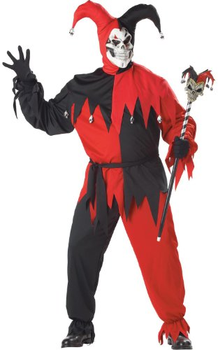California Costumes Women's Evil Jester Costume,Black/Red,P