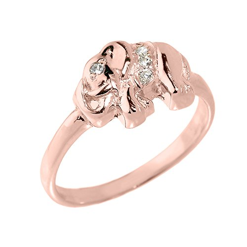 Fine 10k Rose Gold CZ-Studded Lucky Elephant Ring (Size 10)