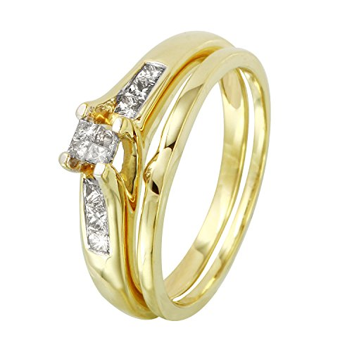 0.25 Carat Natural Diamond 14K Yellow Gold Wedding Rings Set for Women Size (0.25 Ct Invisible Setting)