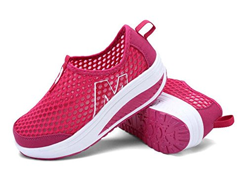 SHINIK Zapatos de mujer Primavera y verano Nuevos Zapatos Shake Zapatos ocasionales respirables Pendiente con zapatos individuales Zapatos de malla Rojo