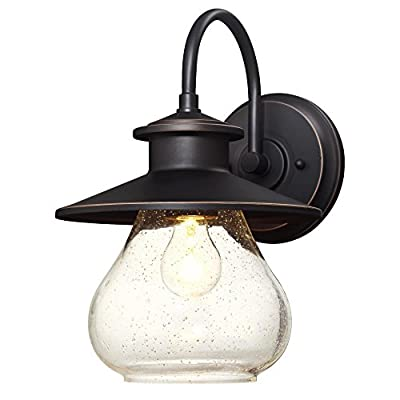Delmont One-Light Outdoor Wall Fixture with with Clear Seeded Glass, Oil Rubbed Bronze