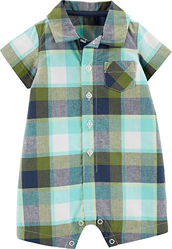- Carter's Baby Boys Plaid Button Front Pocket Romper 18 Months Green/Blue/White