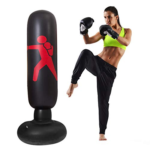 Kids Punching Bag-63inch Free Standing Punching Bag Humanoid Pattern Inflatable Boxing Stand Big Punching Bag for Kids…