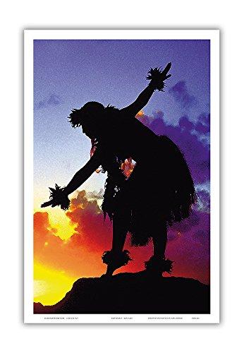 - Pacifica Island Art Red Sunset - Hawaiian Hula Dancer at Sunset - Original Color Photograph by Ron Laes - Hawaiian Master Art Print - 12 x 18in