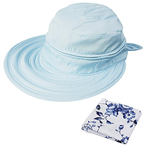 kilofly UV Protection Wide Brim Summer Lightweight 2in1 Visor Sun Hat