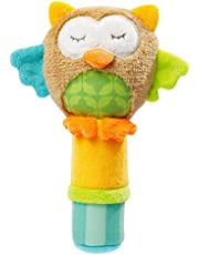 Baby Soft Rattles ,Developmental Toy Hand Grip, Animal Baby Soft Plush Hand Rattle Squeaker Sticks for Toddlers