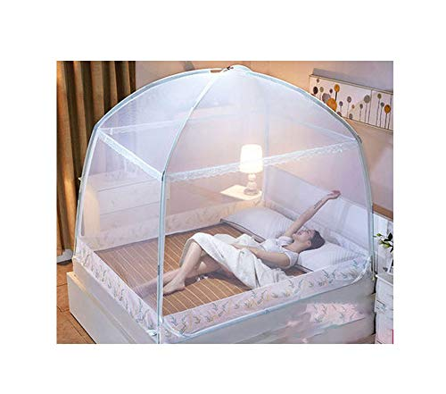 (FAT BABY Romantic Purple Mosquito Net for Single Double Bed Adults Insect Repeller Tent Bedding Canopy Net for Kids Mesh Yurt Mosquito Net,White,1.2m (4 feet) Bed)