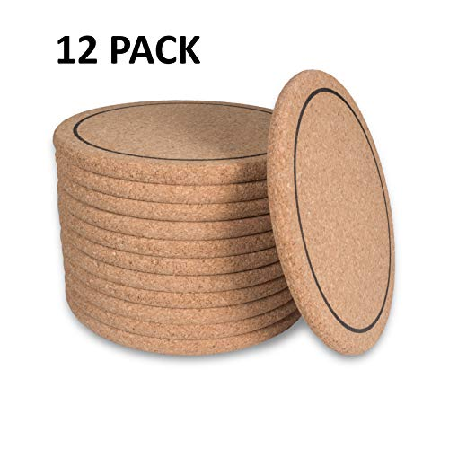 "(Natural Cork Coasters 12pcs Absorbent Round Edges & Ring 4"" x 1/4"" Thick, Protects Furniture, Sturdy & Reusable, Heat-Resistant, Coffee Mugs, Cold Drinks, Wine Glass, DIY Crafts, Bars Home & Kitchen)"