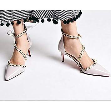 Gray ZHZNVX Womens Shoes Nappa Leather Spring Basic Pump Heels Stiletto Heel White//Black