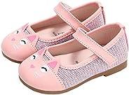 XinYiQu Girls Cartoon Cat Girls Dress Shoes Bling Mary Jane Shoes Princess
