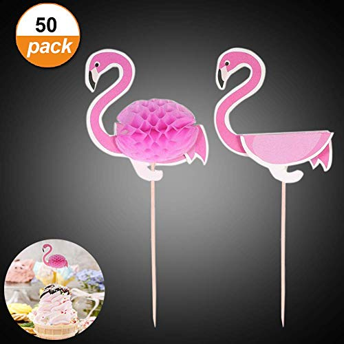 - 50 Pack Cake Topper 3D Pink Flamingo Cupcakes Party Supplies Toppers Food Picks Party Cocktail Tropical Cupcake Picks Decoration