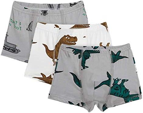 子供用 ボクサーパンツ 男の子 下着 肌着 恐竜柄 プリントブリーフ 綿 3枚組 (C, 9-10 歳)