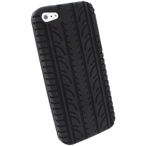 iGadgitz Black Silicone Skin Case Cover with Tire Tread Design for New Apple iPhone 5C Cell Phone 4G LTE + Screen Protector (not suitable for iPhone 5 & 5S)