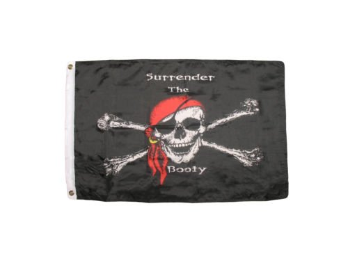 2x3 Jolly Roger Pirate Surrender The Booty Red Hat Premium Q
