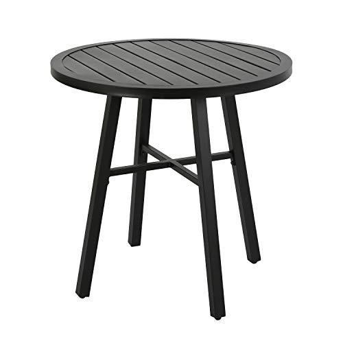 Ulax furniture Outdoor Round Side Table, Patio Coffee Bistro Table