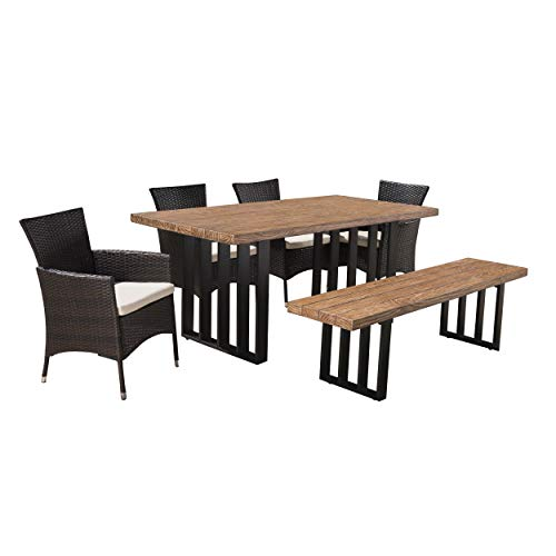 Great Deal Furniture 304093 Francis Outdoor 6-Piece Wicker Concrete Lightweight Dining Set with Natural Oak Finish Water Resistant Cushions in Multibrown Beige, Black