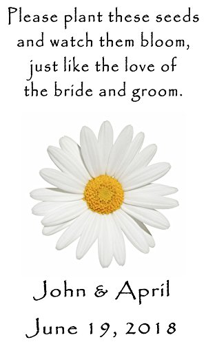 Personalized Wedding Favor Wildflower Seed Packets White Daisy Design 6 verses to choose from Set of ()