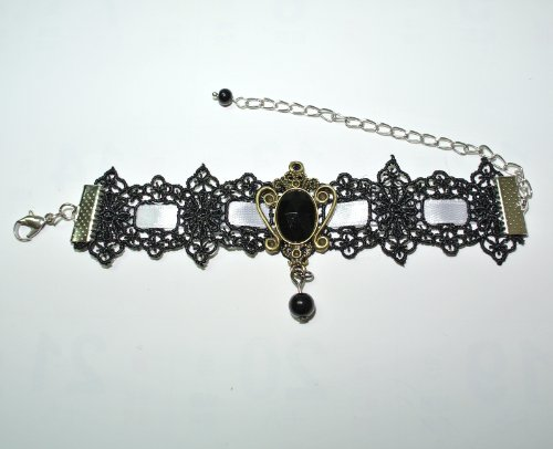Black Gothic Goth Lolita Vampire Faux Pearl Ribbons Lace Bracelet Wristlet A00025