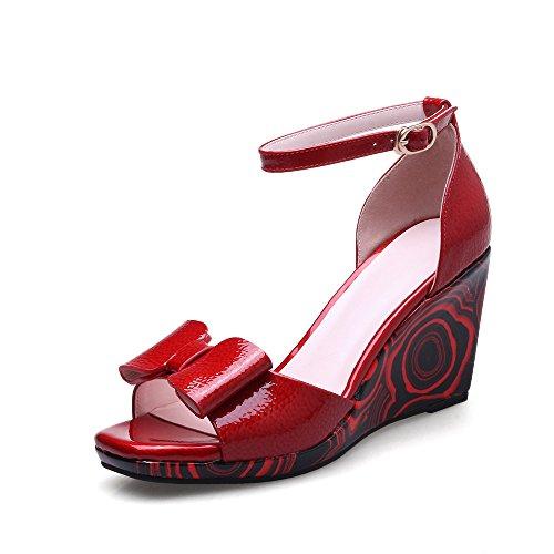 La amp;X Peep Toe Sandalias Mujer Tacón Cuña QIN Red HA4q6AwR