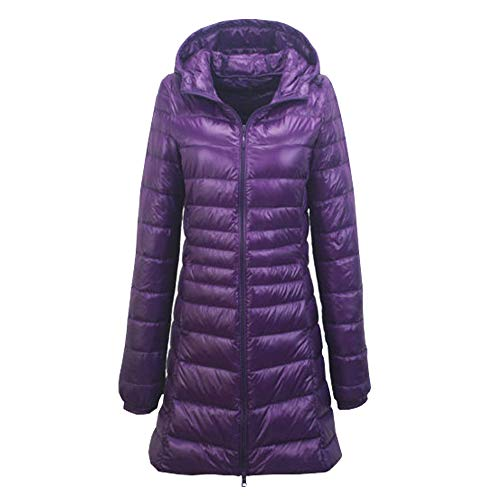- YOUMU Womens Long Quilted Puffer Coat Puffa Parka Padded Down Jacket Hooded Winter Purple