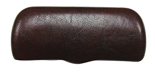 Glasses Case For Men & Women, Small Hard Shell Eyeglass Case With Lip, Faux Leather, Brown