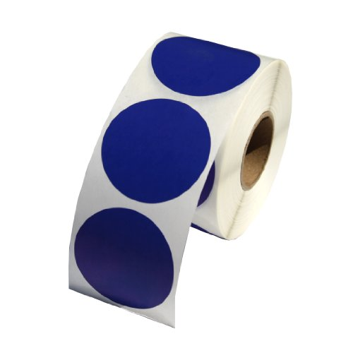 Dark Blue Round Color Coding Inventory Labeling Dot Labels / Stickers - 1.5 Inch Round Labels 500 Stickers Per Roll