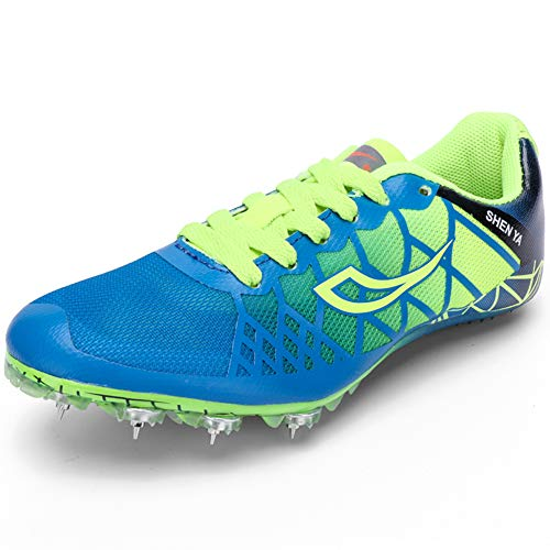 Thestron Track Shoes Boys Girls Spikes Training Sneakers Lightweight Racing Running Shoes Track and Field with Spikes for Kids, Youth (1.5 Little Kid,Blue01)