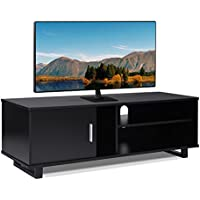 Wood TV Stand Storage Console, Black