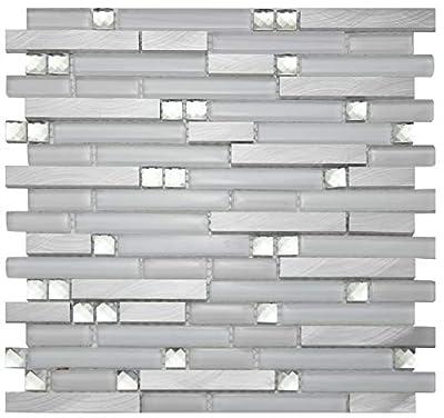 White Glass Metal Mosaic Tile for Wall, Mosaic Tiles,LSGM02