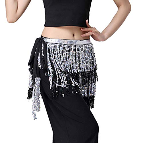 (Womens Sequin Club Mini Skirt Belly Dancer Costume Tassel Wrap Skirt Silver)