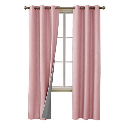 (Deconovo Pink Blackout Curtains Linen Look 3 Pass Coating Grommet Total Blackout Curtain Panels for Bedroom 38x84 Inch Pink 2 Panels)