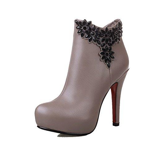 AllhqFashion Womens High-Heels Round Closed Toe PU Zipper Boots, Gray-Glass Diamond, 37