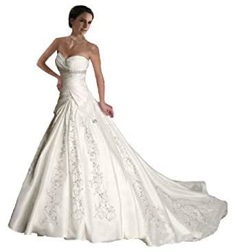 Faironly J5 White Ivory Sweetheart Wedding Dress Bride Gown (XS, White)
