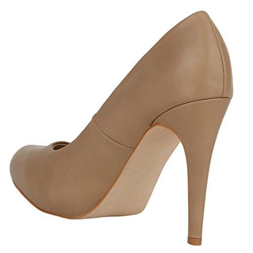 Stiefelparadies Spitze Damen Pumps Stiletto High Heels Lack Leder-Optik Schuhe Elegante Absatzschuhe Party Abendschuhe Abiball Flandell Khaki Autol