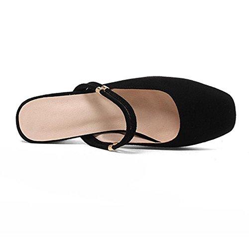 RAZAMAZA Carre Orteil Black Sandales Femmes wK487Aq